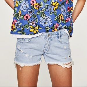 NWT Zara Distressed Jean Shorts